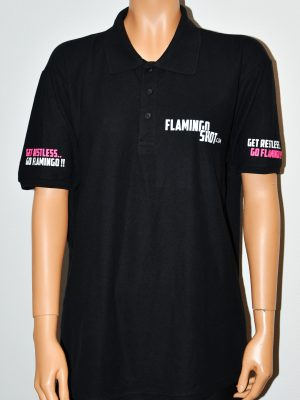 Heren polo voorkant Flamingoshot